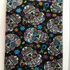 Blue Flower black fabric with sugar skulls