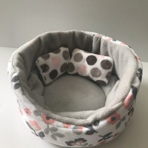 Round Pet Bed Grey and Pink Floral