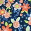 Floral Blue and Orange Fleece