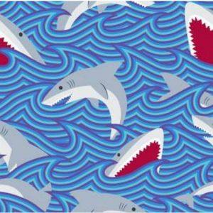 Blue Shark Print Fleece