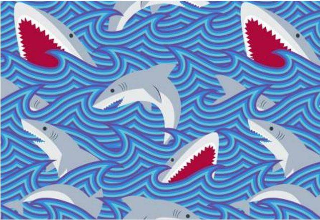 Fleece Cage Liner Shark Print